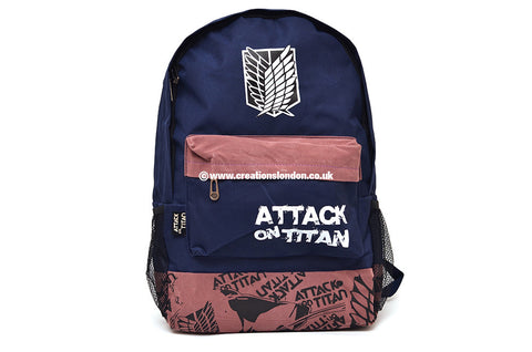 Attack on Titan Survey Corps Logo Navy / Brown Canvas Backpack Bag