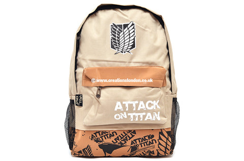 Attack on Titan Survey Corps Logo Beige / Burly Wood Canvas Backpack Bag