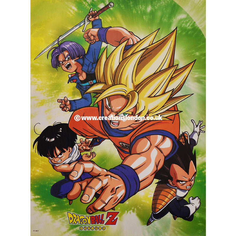"A2 Laminated Poster 25""X16"" Dragon Ball / Goku, Gohan, Vegeta, Trunks"