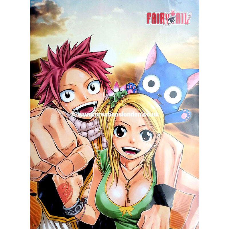"A2 Laminated Poster 25""X16"" Fairy Tail / Natsu, Lucy & Happy"