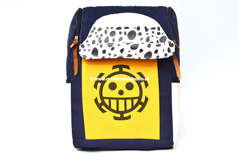 One Piece Trafalgar Law Logo Blue / Yellow Canvas Backpack Bag
