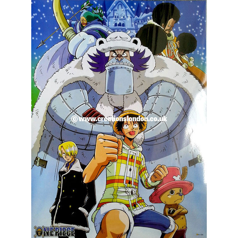"A2 Laminated Poster 25""X16"" One Piece / Luffy, Sanji, Chopper, Wapol"