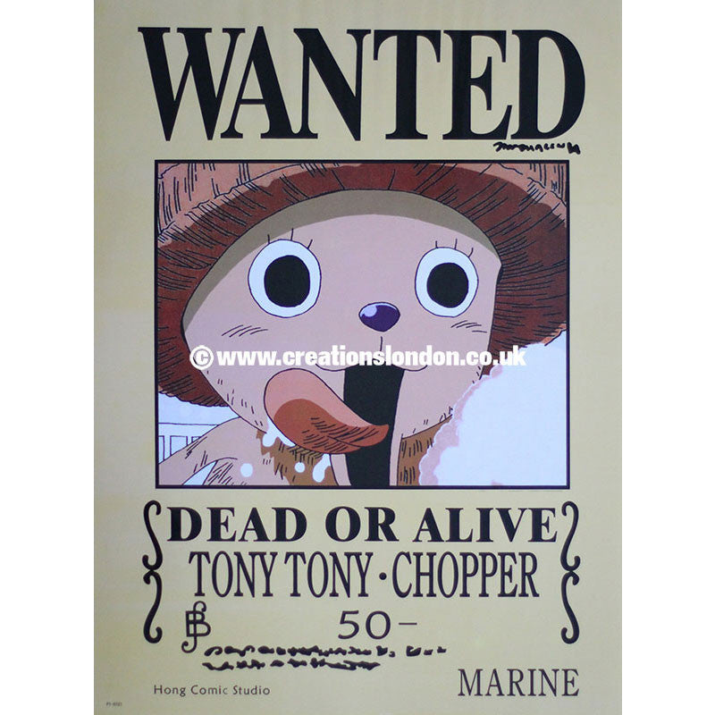 "A2 Laminated Poster 25""X16"" One Piece / Tony Tony Chopper Wanted Poster"