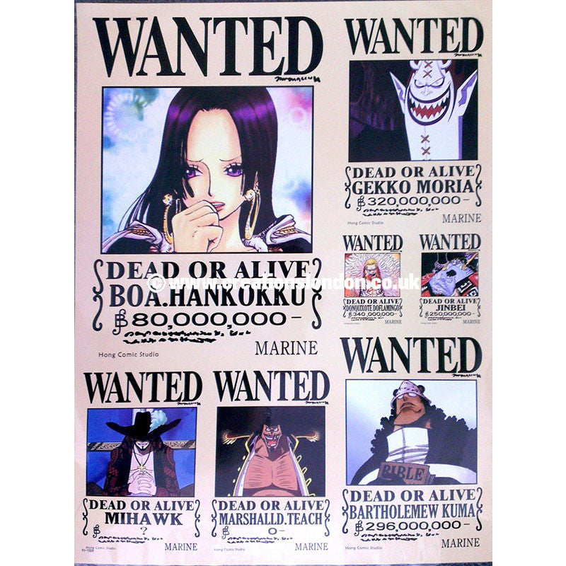 "A2 Laminated Poster 25""X16"" One Piece / Shichibukai Wanted Poster"