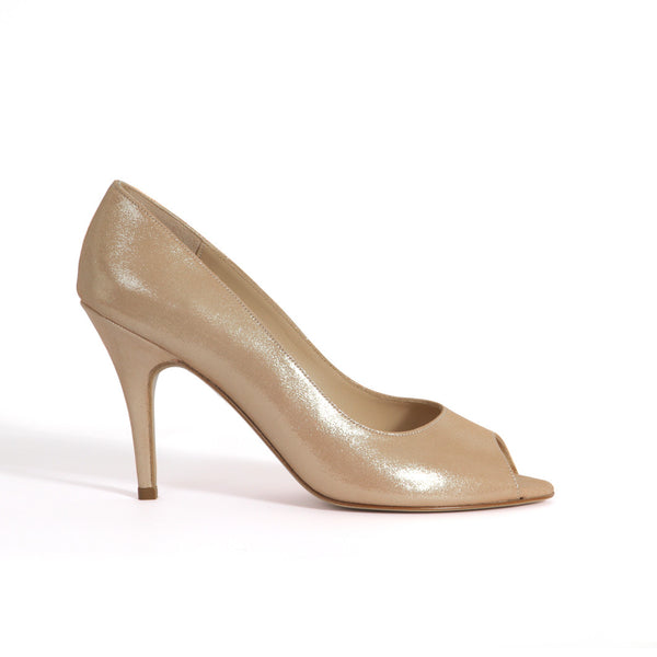Chaussure Peep-toe Charlie n°648 - Talon aiguille 8 cm: Tige Make-up Pailleté - Alix de la Forest