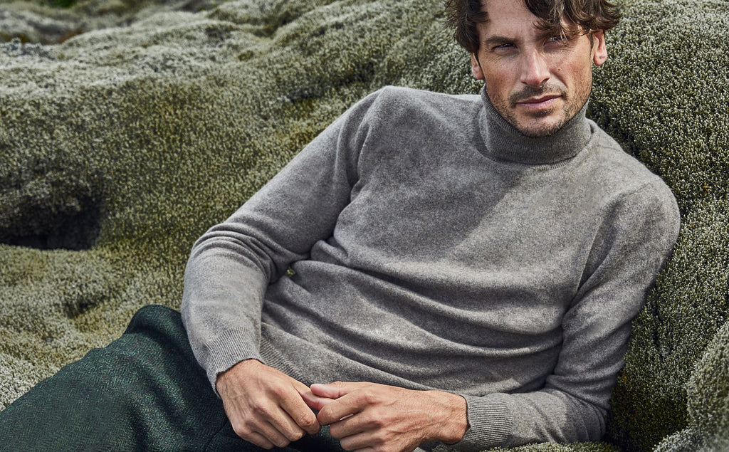Pure Cashmere Roll Neck Jumper Made in Italy