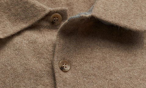 Cashmere Polo Sweater in Camel Beige