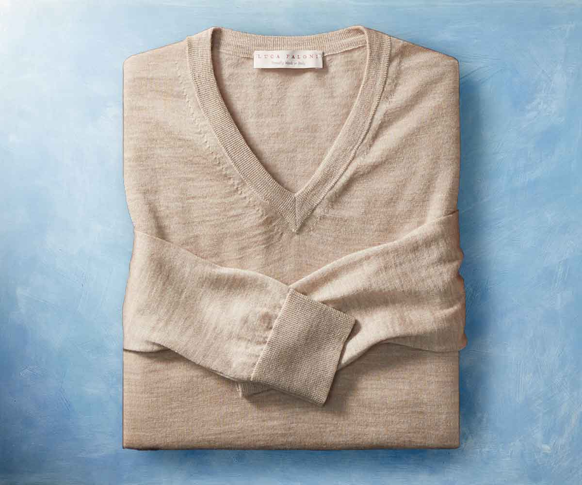 Luca Faloni Fine Silk-Cashmere V Necks Made in Italy