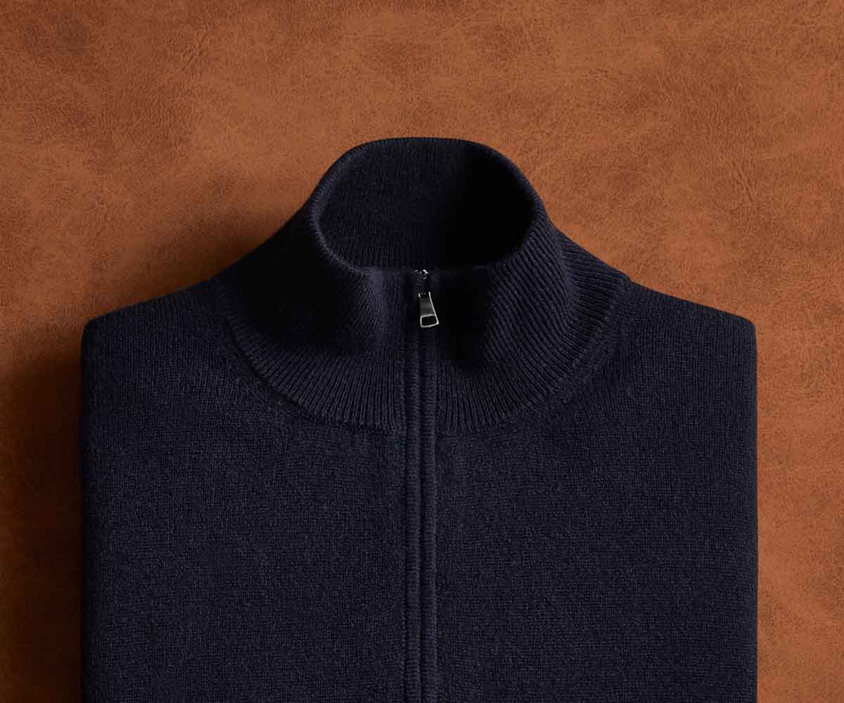 Luca Faloni Pure Cashmere Zip-up Made in Italy