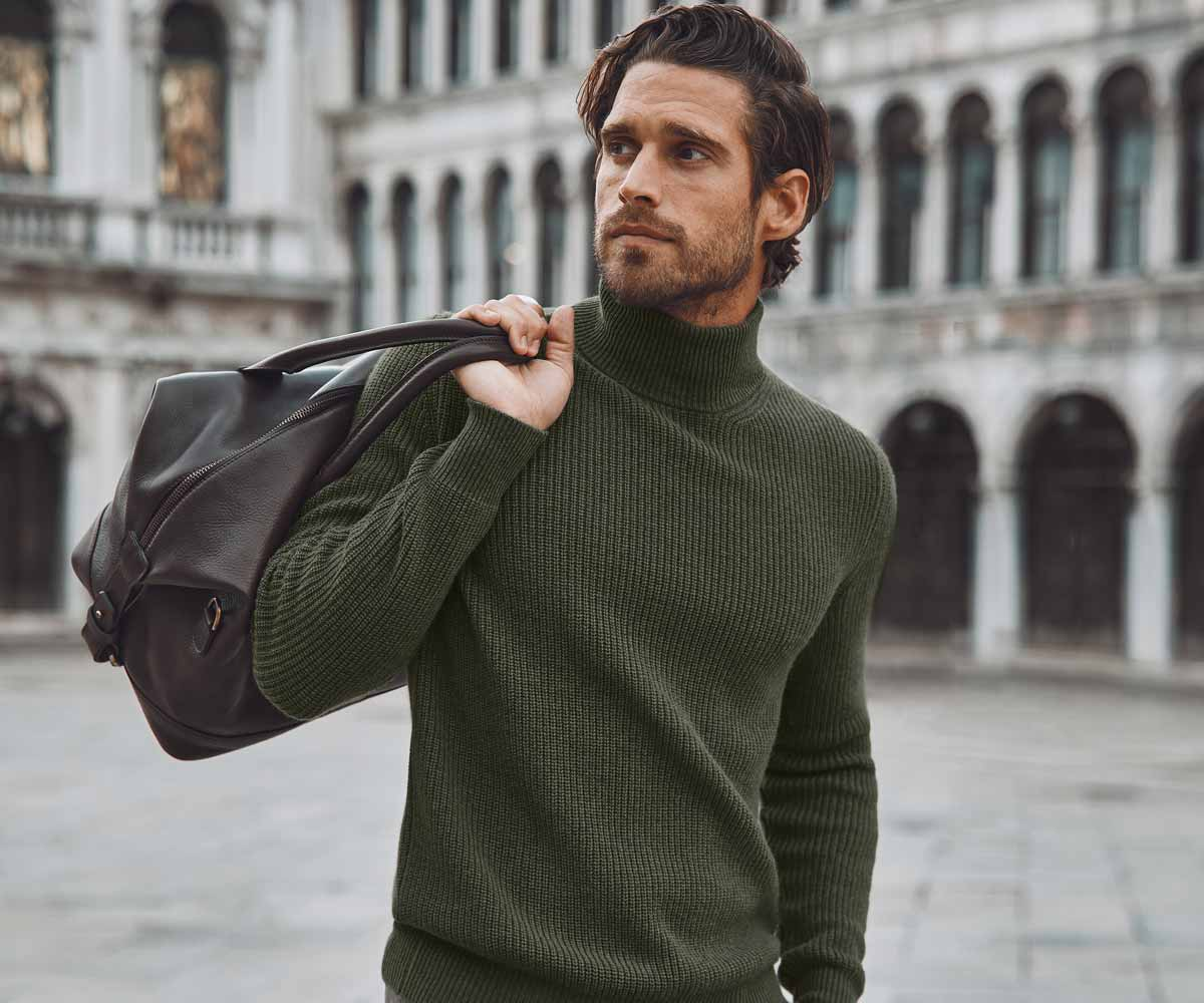 Luca Faloni Pure Cashmere Mock Neck Made in Italy