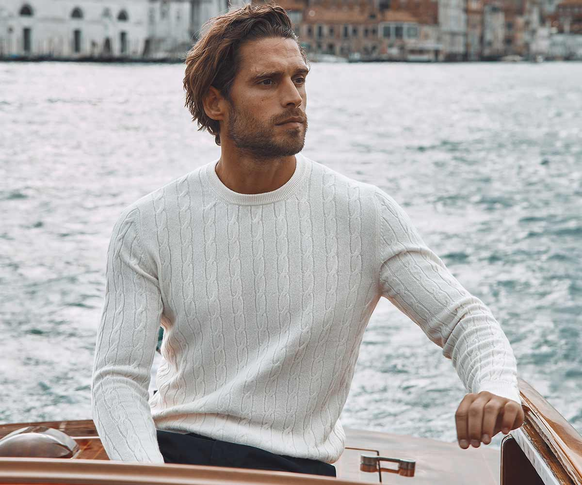 Luca Faloni Pure Cashmere Cable Knit Made in Italy