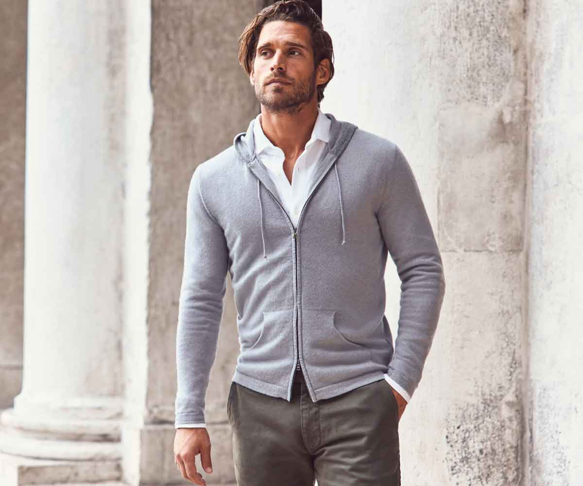 Luca Faloni Cashmere Zip Hoodie Made in Italy