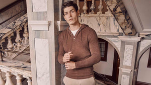 Luca Faloni Auburn Cashmere Hoodie Made in Italy
