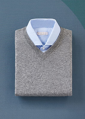 Cashmere V Neck and Brushed Cotton Shirt