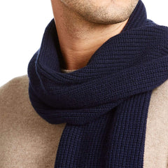 Luca Faloni Navy Chunky Knit Cashmere Scarf Made in Italy