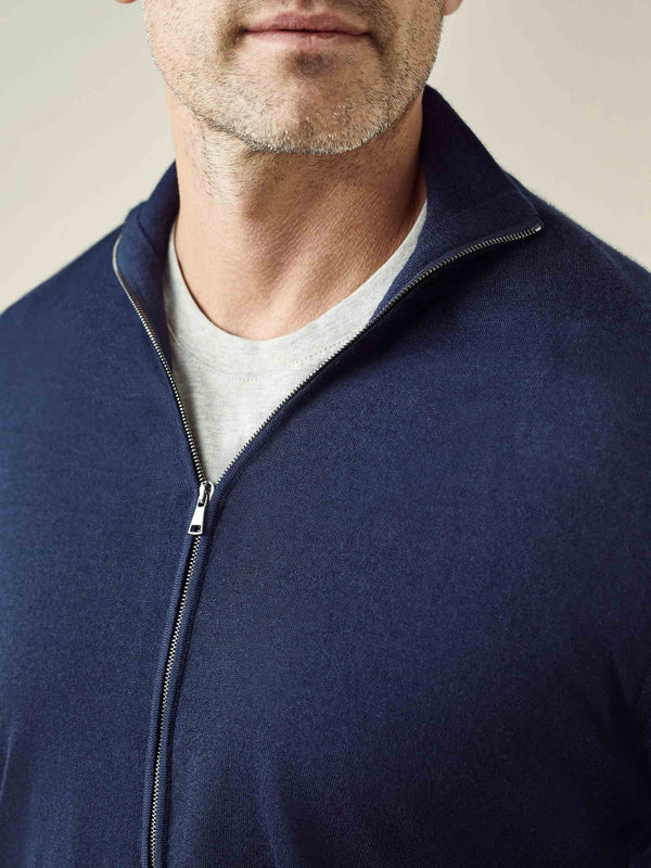 Navy Blue Fine Silk-Cashmere Zip Cardigan