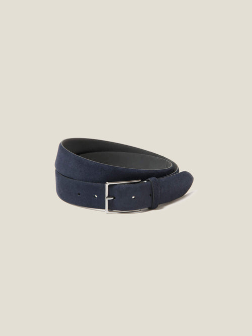 Luca Faloni Navy Blue Classic Suede Belt Made in Italy