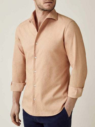 Luca Faloni Apricot Brushed Cotton Shirt Made in Italy