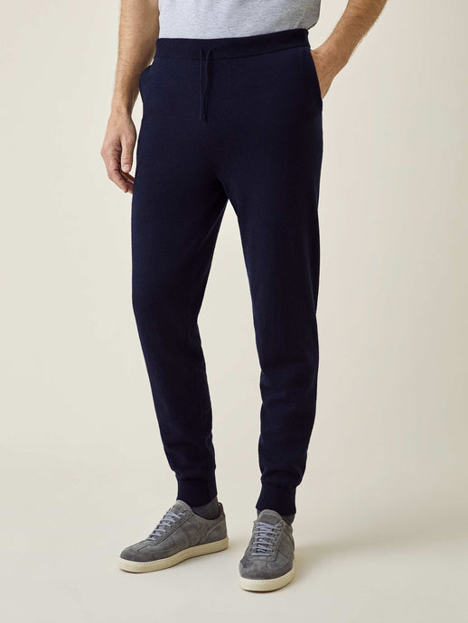 Luca Faloni Midnight Blue Pure Cashmere Joggers Made in Italy