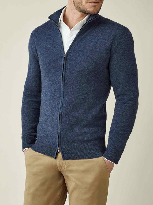Luca Faloni Atlantic Blue Pure Cashmere Zip Cardigan Made in Italy