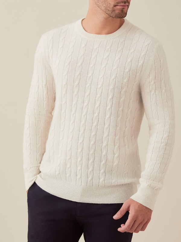 Ivory Pure Cashmere Cable Knit