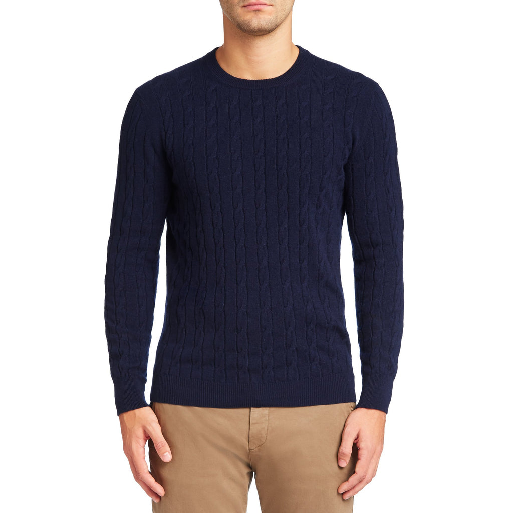 Navy Blue Pure Cashmere Cable Knit Sweater Luca Faloni