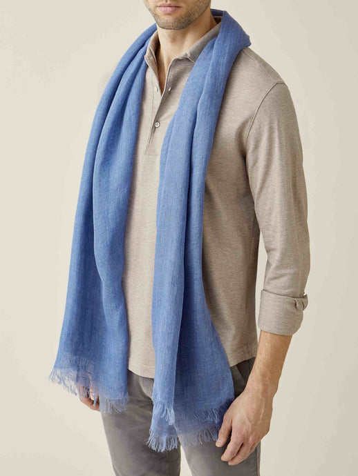 Luca Faloni Chambray Blue Linen Scarf Made in Italy
