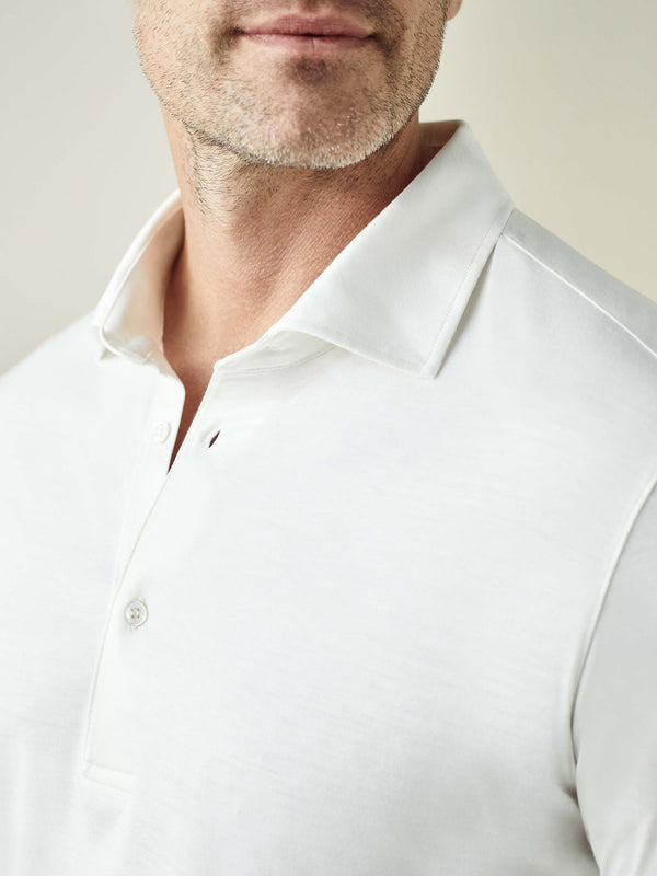 White Amalfi Silk-Cotton Polo Shirt