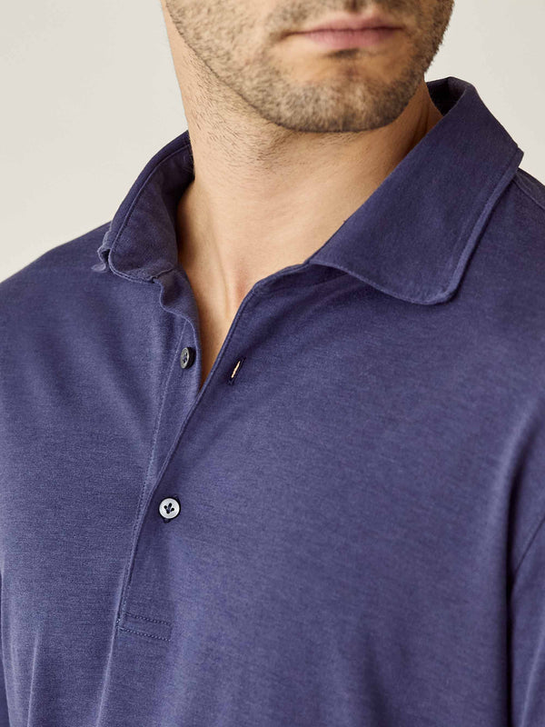 Luca Faloni Ocean Blue Amalfi Silk-Cotton Polo Shirt Made in Italy