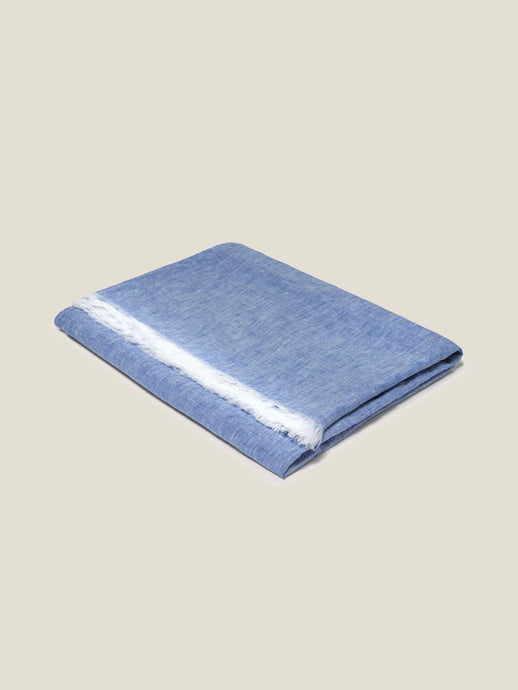 Luca Faloni Blue Melange Linen Towel with Pocket Made in Italy