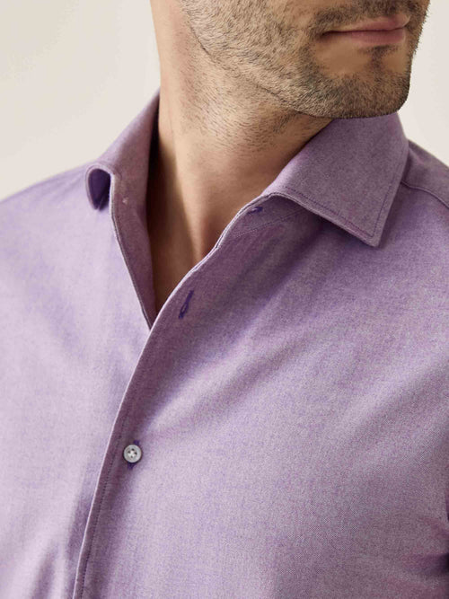 Luca Faloni Purple Brushed Cotton Shirt Made in Italy