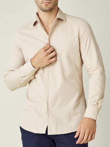 Luca Faloni Sand Brushed Cotton Shirt Made in Italy