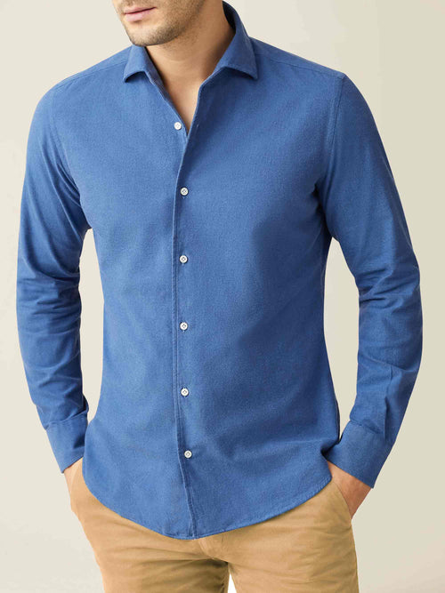 Luca Faloni Chambray Blue Brushed Cotton Shirt Made in Italy