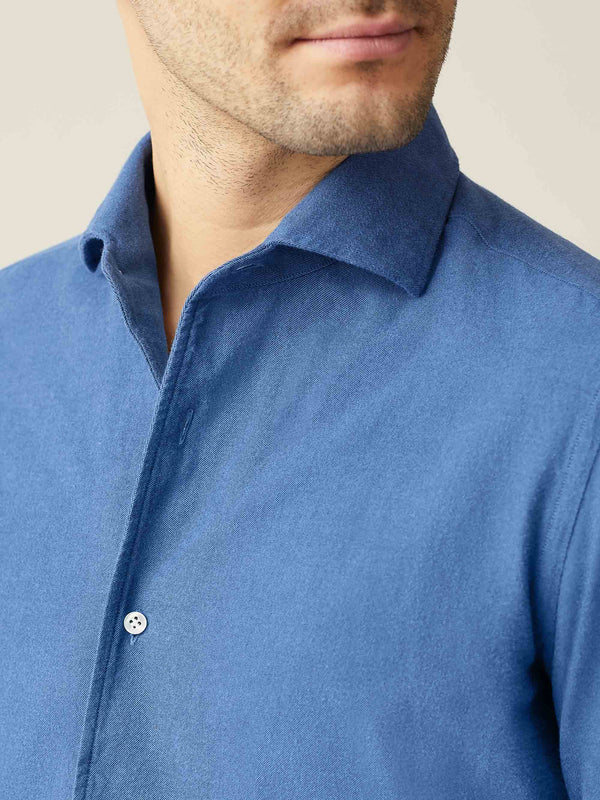 Chambray Blue Brushed Cotton Shirt