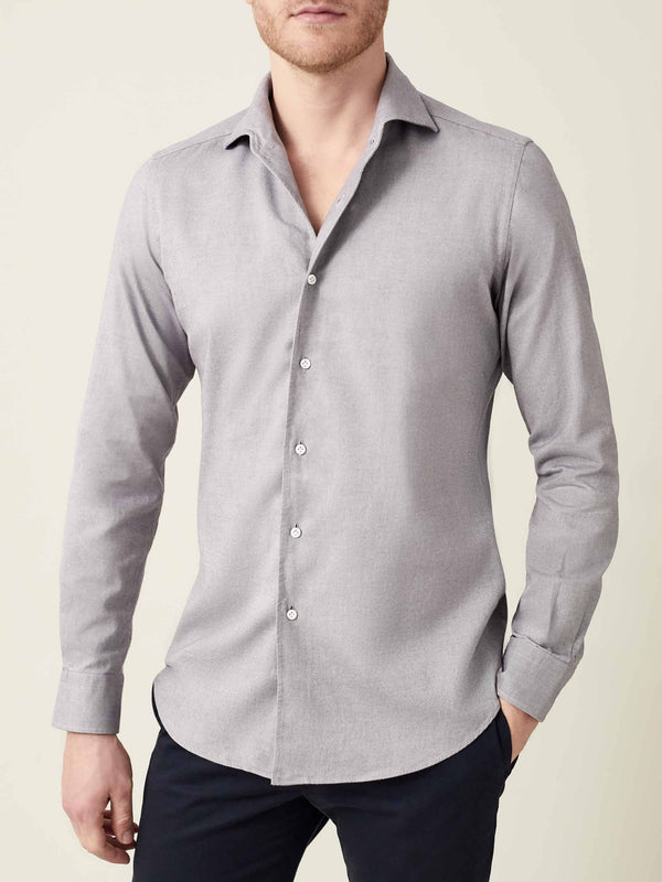Luca Faloni Light Grey Brushed Cotton Shirt Made in Italy