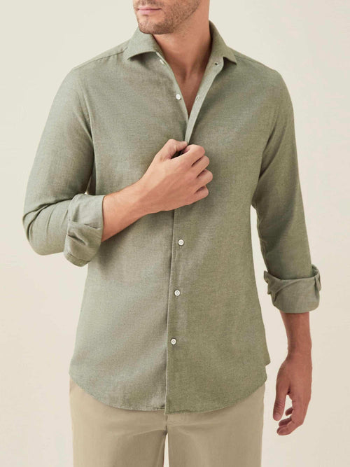 Luca Faloni Moss Green Brushed Cotton Shirt Made in Italy