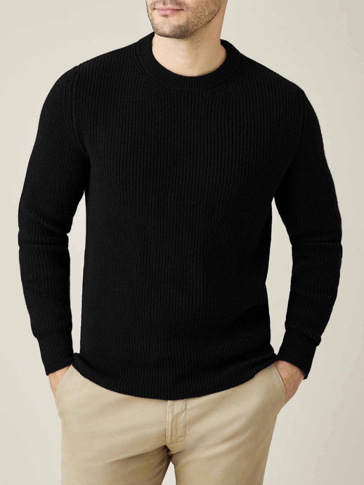 Luca Faloni Black Chunky Knit Cashmere Crew Neck Made in Italy