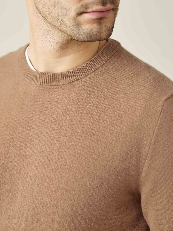 Luca Faloni Fudge Pure Cashmere Crew Neck Made in Italy