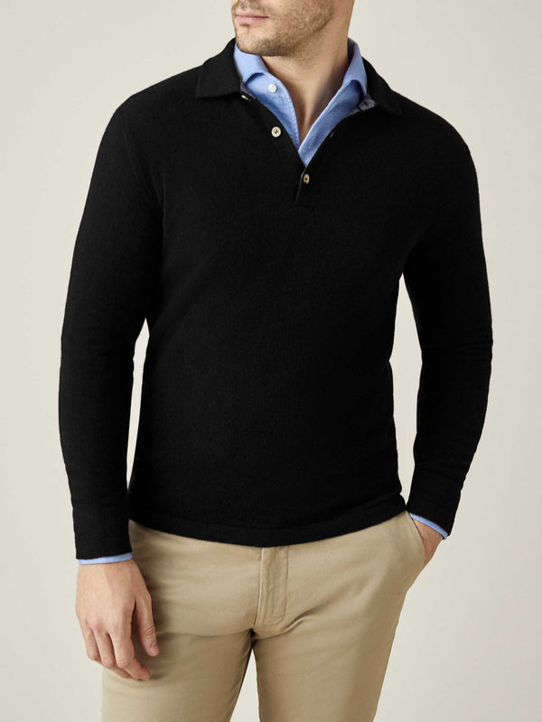 Luca Faloni Black Pure Cashmere Polo Sweater Made in Italy