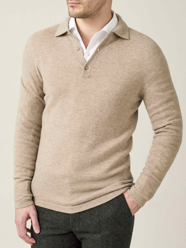 Luca Faloni Camel Beige Pure Cashmere Polo Sweater Made in Italy