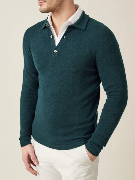 Forest Green Pure Cashmere Polo Sweater