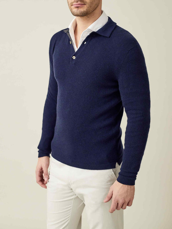 Luca Faloni Navy Blue Pure Cashmere Polo Sweater Made in Italy