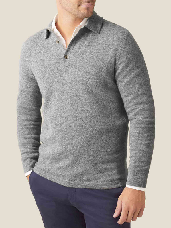 Luca Faloni Dolomiti Grey Pure Cashmere Polo Sweater Made in Italy