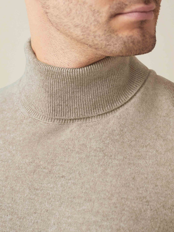 Luca Faloni Camel Beige Pure Cashmere Roll Neck Made in Italy