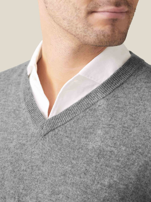 Luca Faloni Dolomiti Grey Melange Pure Cashmere V Neck Made in Italy
