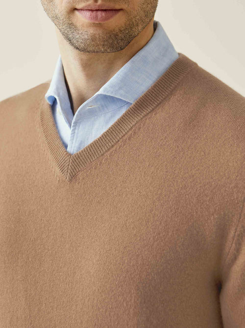 Luca Faloni Fudge Pure Cashmere V Neck Made in Italy
