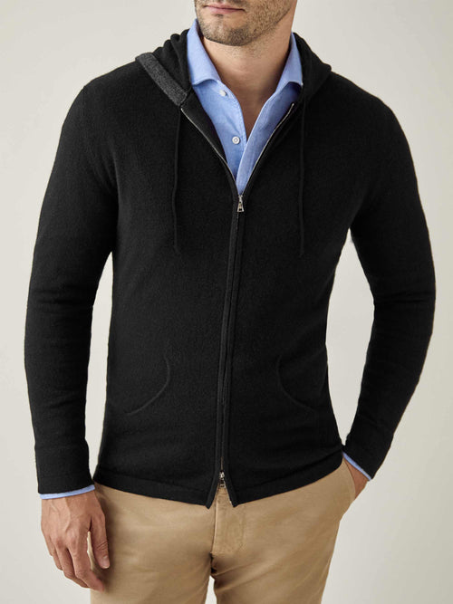 Luca Faloni Black Pure Cashmere Zip Hoodie Made in Italy