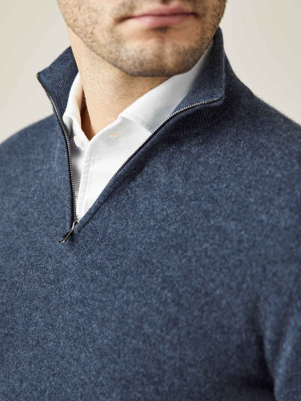 Luca Faloni Atlantic Blue Pure Cashmere Zip-up Made in Italy