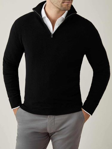 Luca Faloni Black Pure Cashmere Zip-up Made in Italy
