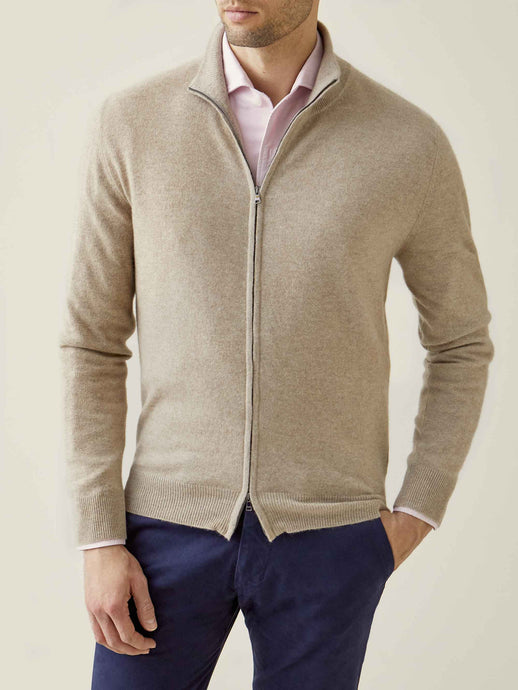 Luca Faloni Camel Beige Pure Cashmere Zip Cardigan Made in Italy